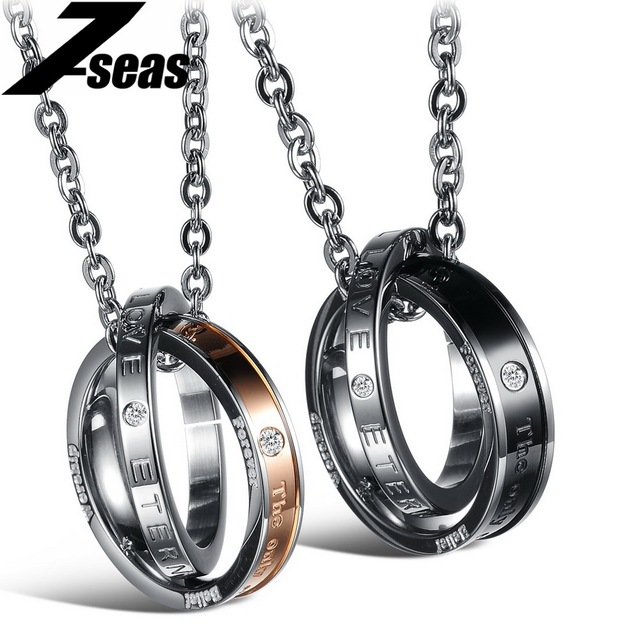 2015 New Arrival Eternal Love Crystal Round Pendant Stainless Steel Couple Necklaces For Wedding Romantic Valentine's Day Gift