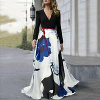 V Collar Elegant Sexy Party Dress Women 2019 Holiday Long Sleeve Loose Long Dress Woman Print Bandage Maxi Dress Vestidos Rode