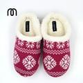 Millffy теплая зима большой размер Скандинавском стиле Memory foam домой стерео полосатые обувь Дамы Вязать Шерпа Тапочки