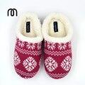 Millffy cálido invierno tamaño grande estilo Nórdico Sherpa estéreos caseros zapatos de Las Señoras de Punto de rayas Zapatillas de espuma de Memoria