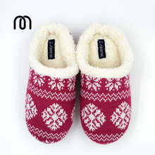 Millffy warm winter big size Nordic style Memory foam home stereo striped shoes Ladies Knit Sherpa Slippers