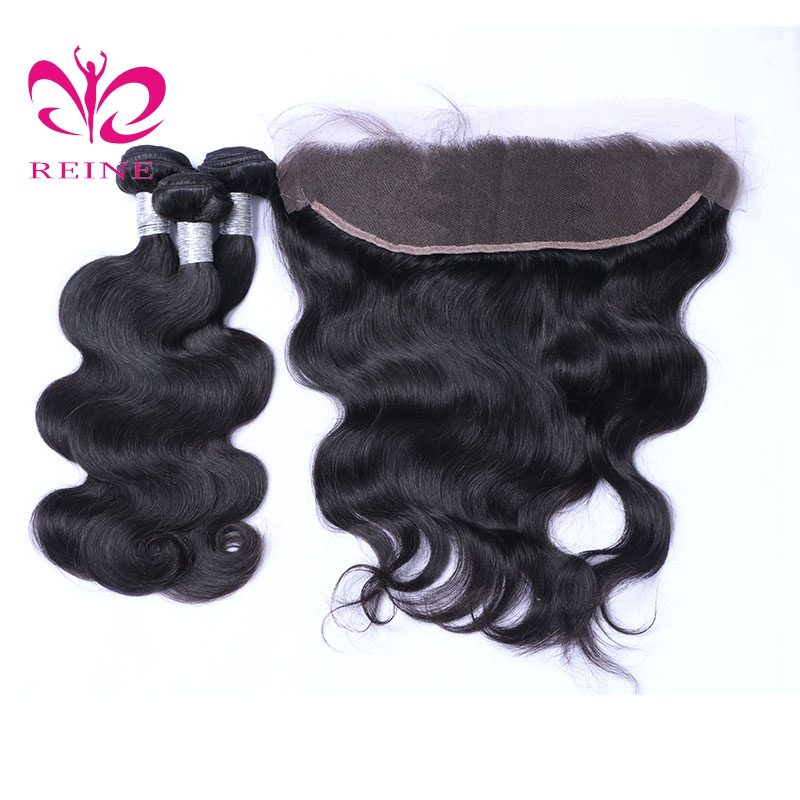 BODY WAVE hair 3 bundles with frontal REINE 100% human hair non-remy brazilian hair nature color best hairstyle free shipping