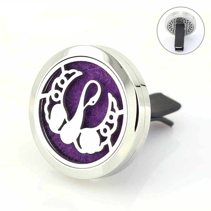 30mm Magnetic Swan Stainless Steel Car Vent Clip Diffuser Locket Aromatherapy Essential Oil Car Diffuser Lockets Free Pads 30mm yl logo magnet 316 stainless steel car aromatherapy locket free pads essential oil car perfume lockets drop shipping