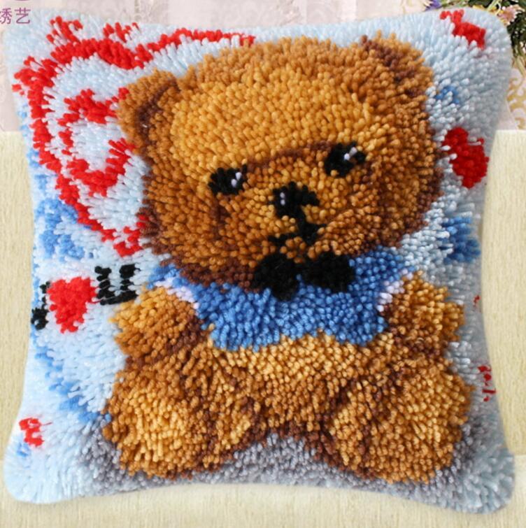 Fai da te fazzoletto tappeto a maglia cuscino incompiuta ricamo tappeto di trasporto libero Gancio del Fermo animale Zong colore