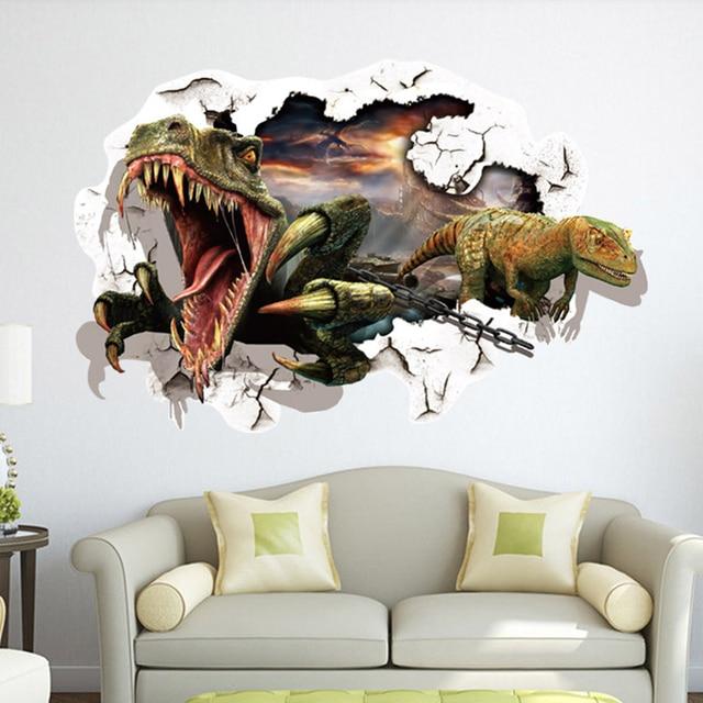 creative home decor 3d wall stickers broken wall style ferocious