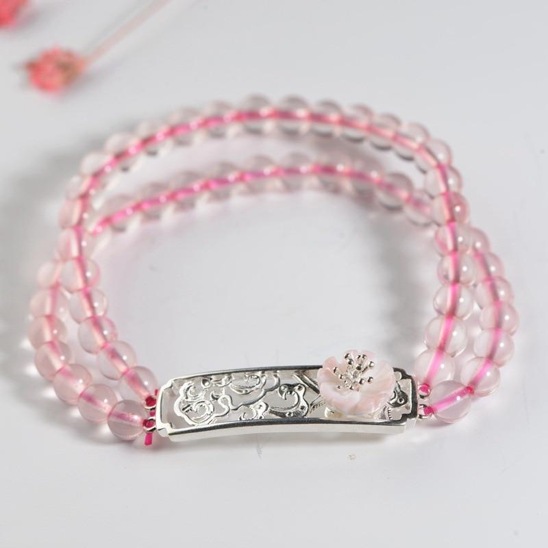 FNJ 925 Bracelet fleur de Lotus en argent chaîne de perles de cristal rose diamètre 5.6 cm bijoux de bracelets pour femme en argent Thai S925
