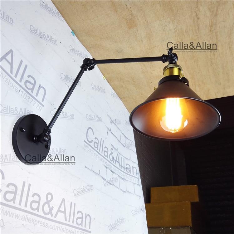 Black iron Adjustable Long Swing Arm Wall Lamp Vintage sconce Edison Loft Style Industrial Wall Sconce Applique Murale Luminaire цена