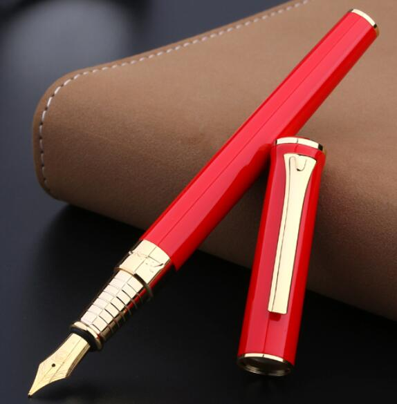 1pc Pimio 988 Golden Clip Fountain Pen Luxury 0.5mm Iraurita Nib Metal Ink Pens Black White Red Gift Writing Stationery with Box black golden clip full metal fountain pen wingsung 572 hooded nib luxury student writing business gift pens with box stationery