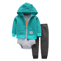 3pcs Spring Autumn Baby Boys Clothes Sets Green Striped Coat + Grey Elephant Bodysuits + Black Pants Cotton Jumpsuit V20