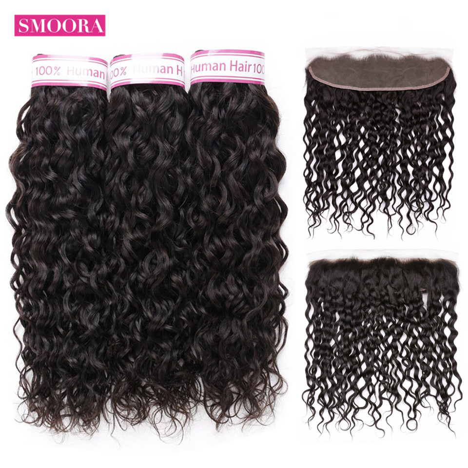 Smoora Brazilian Water Wave Bundles With Frontal Closure Ear To Ear Non Remy Human Hair Weave 13x 4 Frontal With 3 Bundles Hair