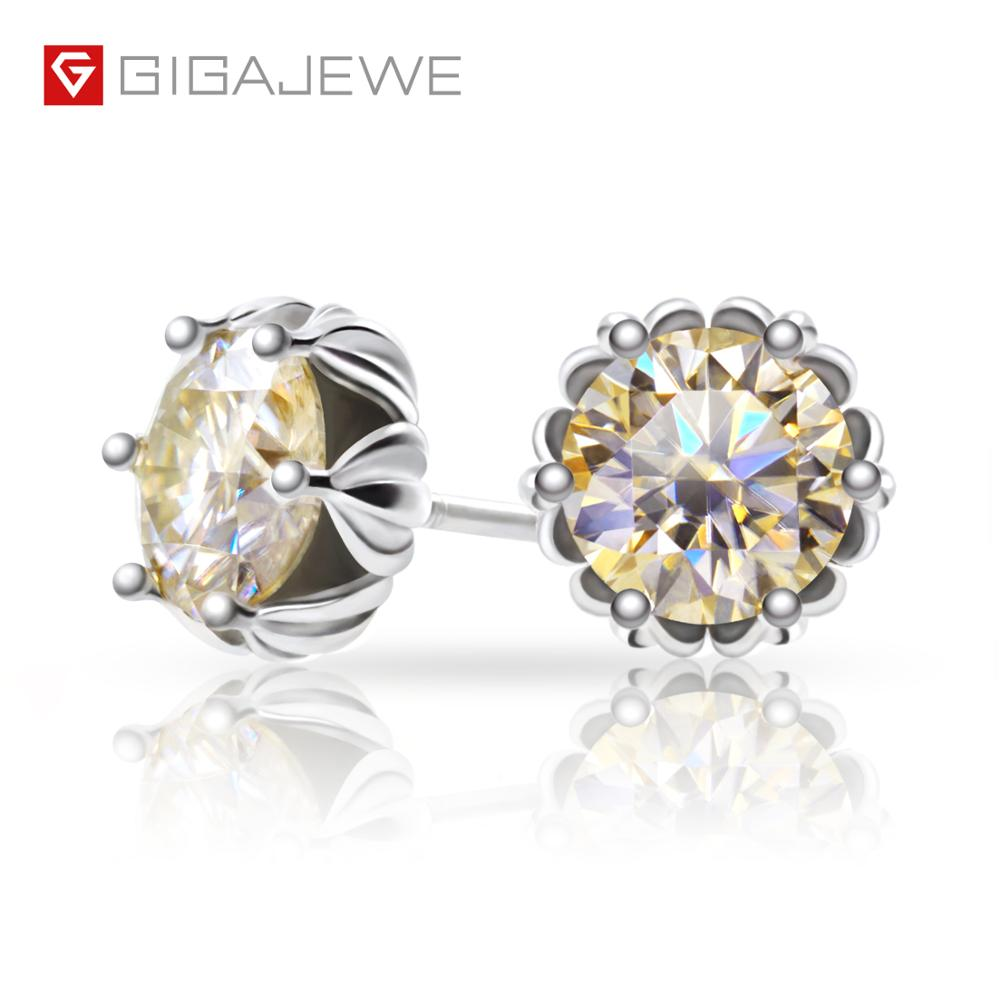 GIGAJEWE Total 1.2ct Champagne Diamond Test Passed Moissanite Silver Earring Jewelry GemStone Girlfriend Gift Special Price(China)
