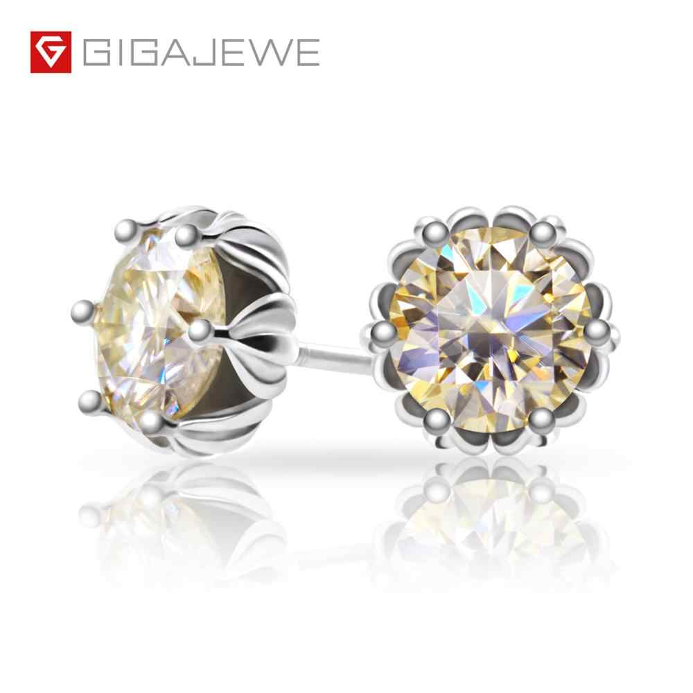 GIGAJEWE Total 1.2ct Champagne Diamond Test Passed Moissanite Silver Earring Jewelry GemStone Girlfriend Gift Special Price