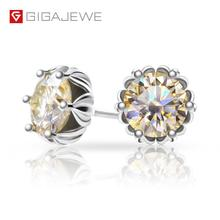 GIGAJEWE Silver Earring Champagne Moissanite Gemstone Diamond Gift Total-1.2ct Test-Passed
