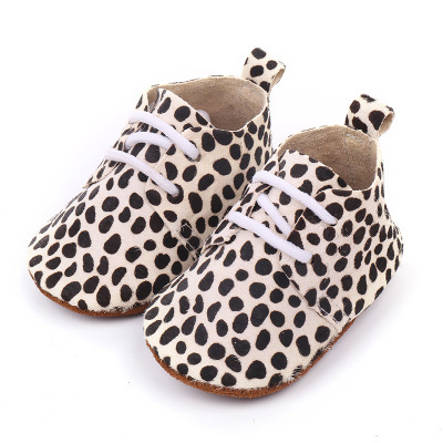 2019 Genuine Leather Baby shoes Leopard print Baby Girls Soft shoes Horse hair Boys First walkers Lace Baby moccasins 2