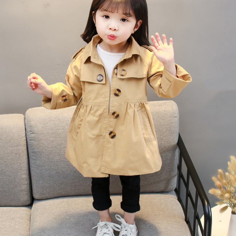 Baby Girls   Trench   Coat Spring Autumn Long Sleeve Turn Down Collar Color Outerwear Fashion Lovely Children Outfit Korean Style