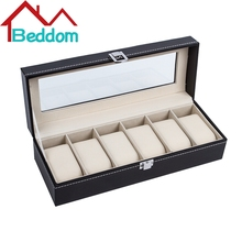 Beddom Watch Box Black Leather 6 Slots Watches Box,Glass Top Watch Display Storage Case Boxes Organizer Watch Storage Box Holder