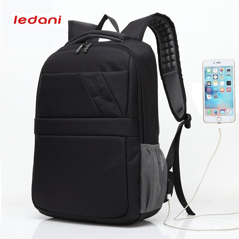 LEDANI Men Leisure Bag School Backpacks Women Anti Theft Backpack Bag USB Charge 15.6 Inch Laptop Mochila Travel Back Pack Black