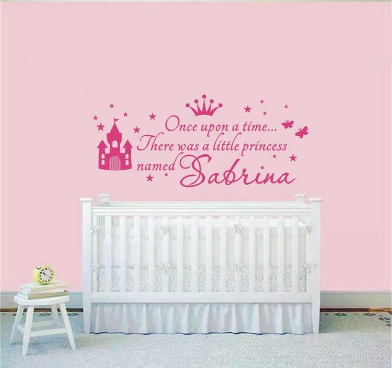 W380 Custom Name Princess Girl Wall Sticker For Kids Rooms Baby Girl  Nursery Wall Decals Girl\'s Bedroom Wall Art Home Decor