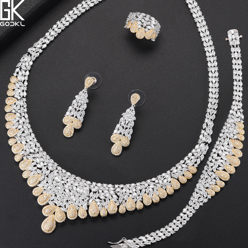 GODKI NEW Luxury 4PCS African Jewelry Sets For Women Wedding AAA Cubic Zirconia Crystal CZ Engagement DUBAI Bridal Jewelry Sets luxury brand 100% real 925 sterling silver jewelry sets luxury cz diamant wedding engagement bridal sets for women african ys052