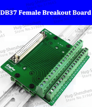 High quality 15pcs  DB37 D-Sub DIN Rail Mount Interface Module , DB37 female terminal connector Breakout Board