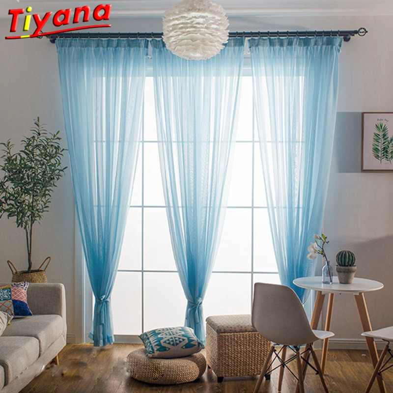 Nature White Cheap Curtians Fashion Rainbow Curtains Solid Blue Tulle for Living Room Wedding Decor Cortinas Salon WP184-30