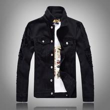 Autumn Winter Fashion Men Jacket Streetwear Punk Style Denim Destroyed Bomber Jacket Men Streetwear Hip Hop Jacket Man Coats bleach wash extreme destroyed denim jacket