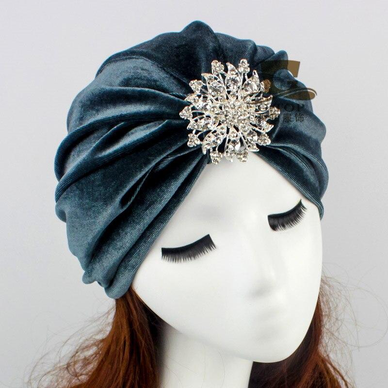 New Fashion Indian Style Velvet Flapper Jeweled Brooch Swomen Turban Headband Ear Warmer Hat
