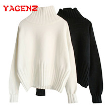 YAGENZ Otoño Invierno Tops mujer suéter tejido jerseys moda Harajuku cuello  alto manga larga cálido blanco 574d15a99832