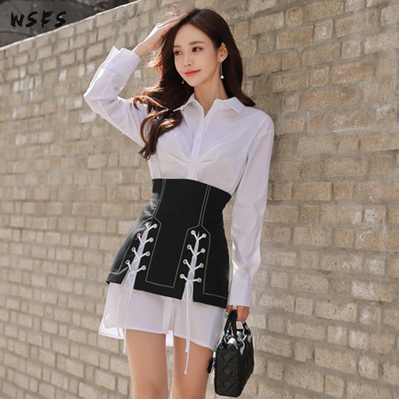 2 pièces ensembles blanc chemise manches longues hauts Blouse femmes robe lâche moulante dames noir à lacets Mini enveloppement de crayon robes de soirée - 4