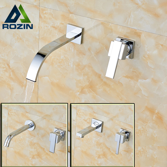 Free Shipping Bathroom Single Handle Basin Faucet Wall Mounted Brass Chrome Dual Hole Mixer Taps