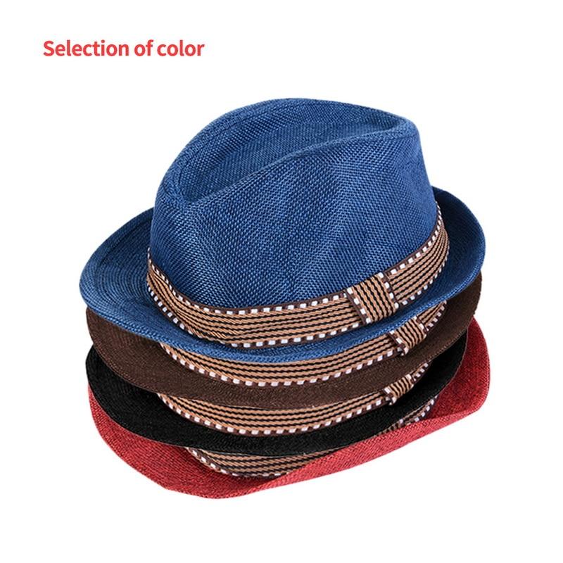 7b230899e US $2.34 35% OFF|Nibesser Fashion Sun Hats Summer Autumn Fedora Hats Jazz  Cool Toddler Boy Girl Cap Top Hat Straw Linen Dropshipping-in Hats & Caps  ...
