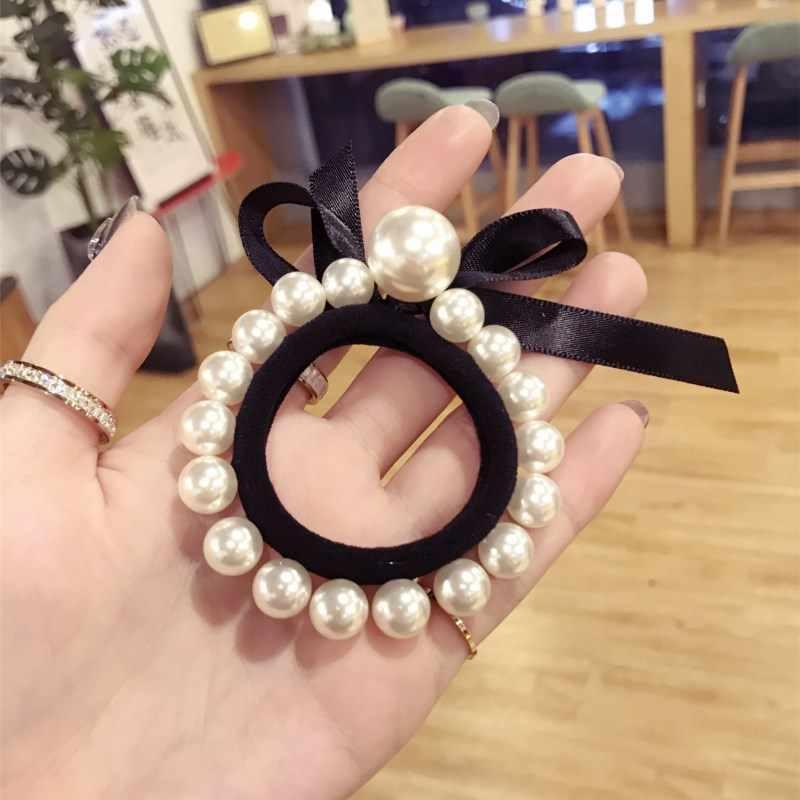 Korea w nowym stylu kwiat perła Rhinestone akcesoria do włosów kokardy do włosów elastyczne gumki do włosów gumka opaska do włosów dla dziewczynek