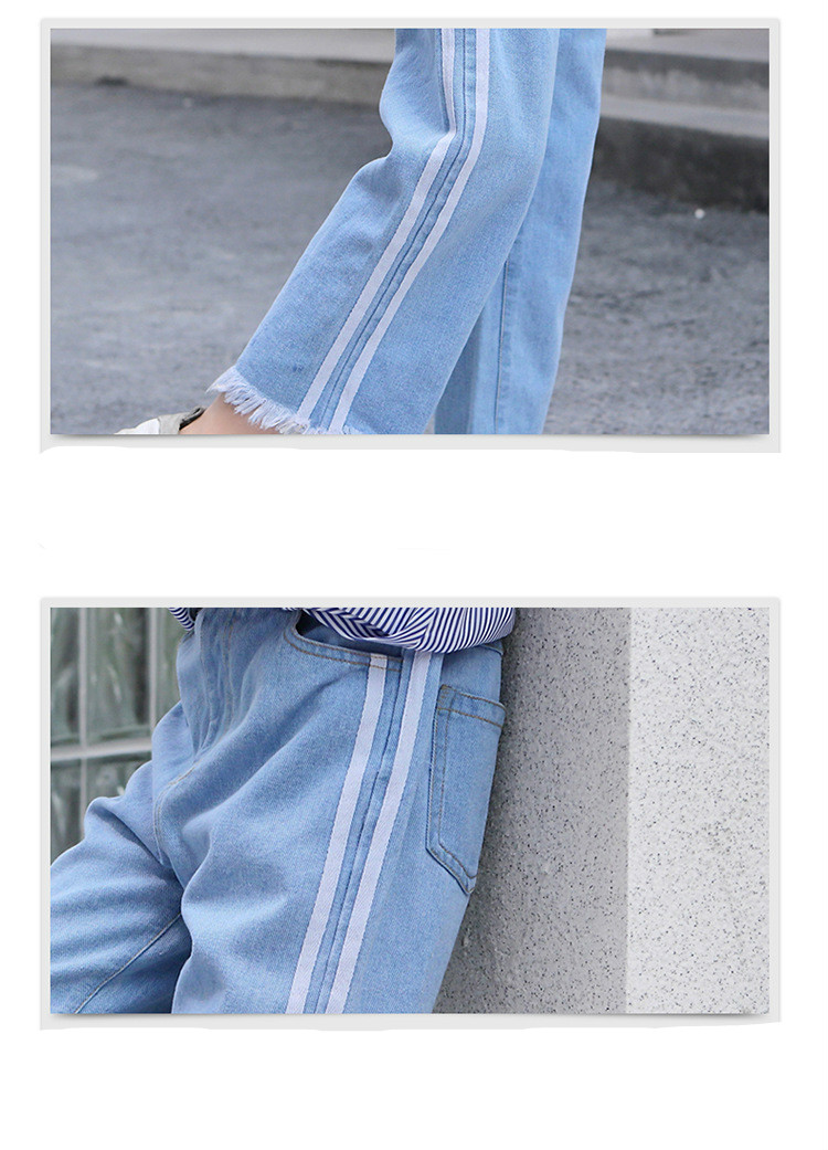 Girls 4-12 Years Spring Autumn Jeans Denim Loose Pants Casual Fashion Raw Edges Side Double Stripes Elastic Waist Jeans Trousers 22