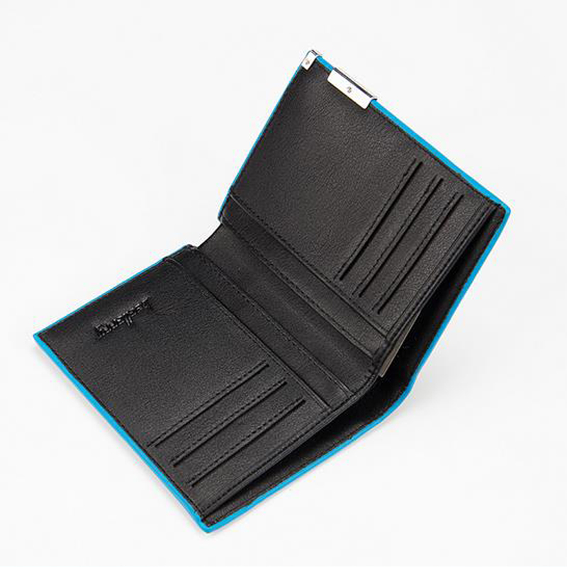 New Arrival Men Blue Frame Wallet Multifunctional Purse Short Style Closure Super Thin Money Bag More Card Slots For Business G