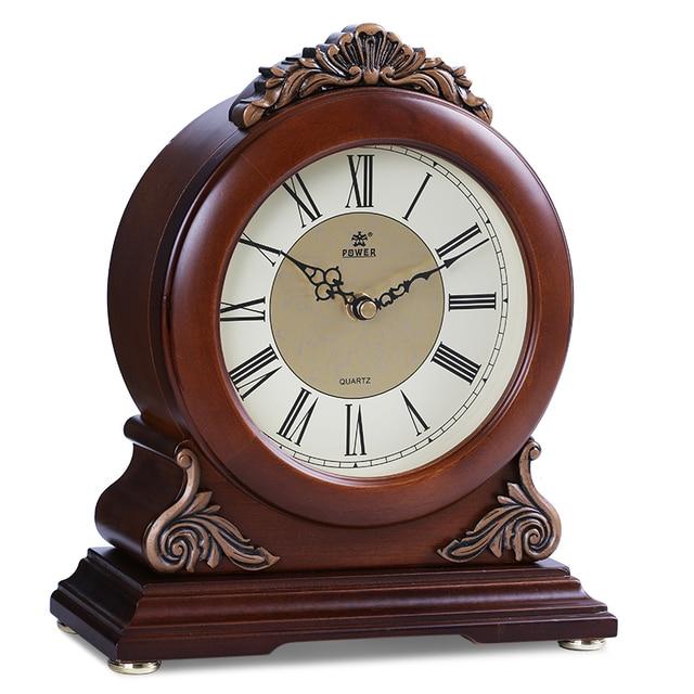 power brand highend solid wood desk clock silent quartz movement table clock crystal masa