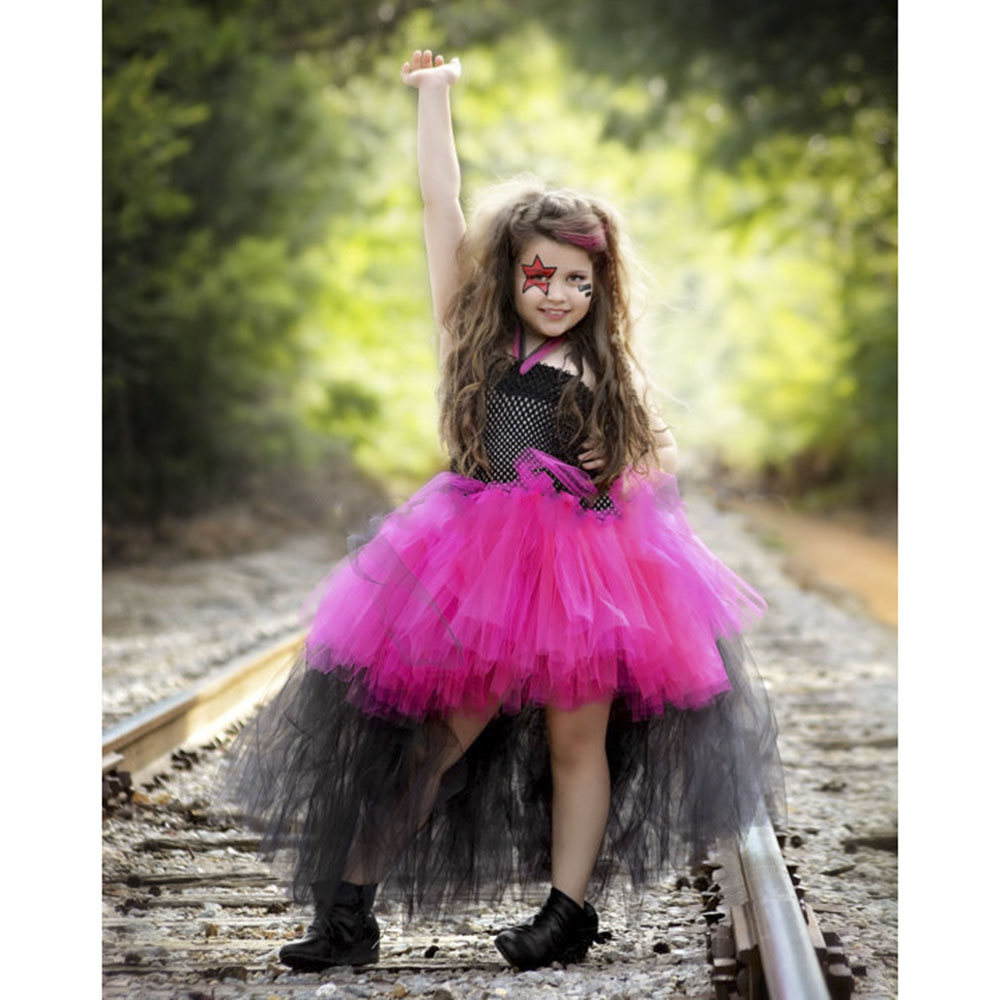 Hot Pink Rockstar Girl Funking Tutu Dress Children Scary Evening Party Cosplay Tutu Dresses Halloween Custom Clothing for Kids children girl tutu dress super hero girl halloween costume kids summer tutu dress party photography girl clothing