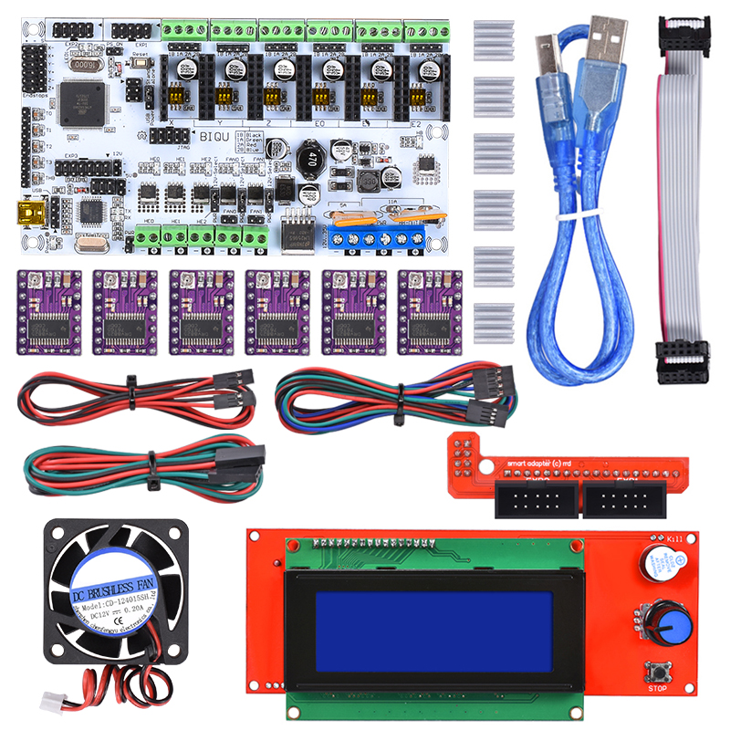 Reprap Rumba Mainboard Kit DIY+2004 LCD Display+ DRV8825/A4988 Stepper Motor Driver+ Cooling Fan+Jumper Wire Rumba Control Board diy biqu rumba 3d printer rumba control board lcd 12864 controller display jumper wire a4988 driver for reprap 3d printer kit103