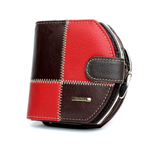 High Quality Women Genuine Leather Patchwork Coin Purse Women Fashion Hobos mini Wallets Luxury Brand