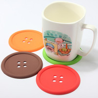 5Pcs Cute Silicone Round Button Coaster Home Table Decor Coffee Drink Placemat Cup Mat Pad Hot Sale TY581