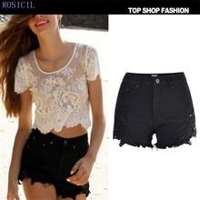 ROSICIL  Hole Punk Rock Fashion High Waisted Denim Shorts Vintage Ripped Jeans Sexy Womens Short pantalon femme TSL007-B