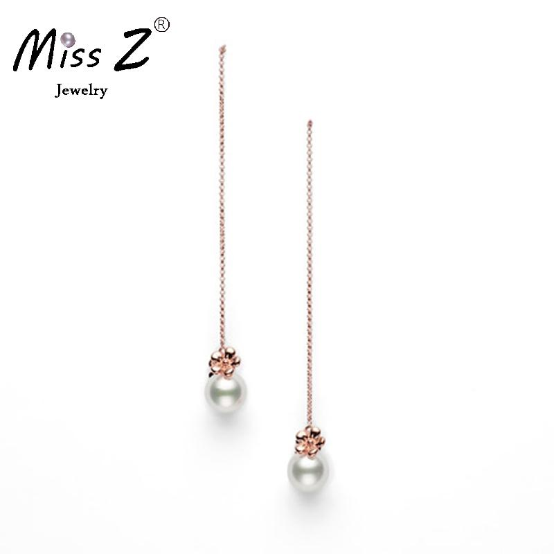 Miss Z Jewelry 4mm White Pearl Ear Wire String Dangle Earrings Long Line Sliver In Drop From