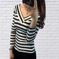 2016 Autumn New Fashion Women Tops Sexy Deep V-Neck T-Shirt Long Sleeve Striped T Shirts Tees Blusas Femininas Free Shipping