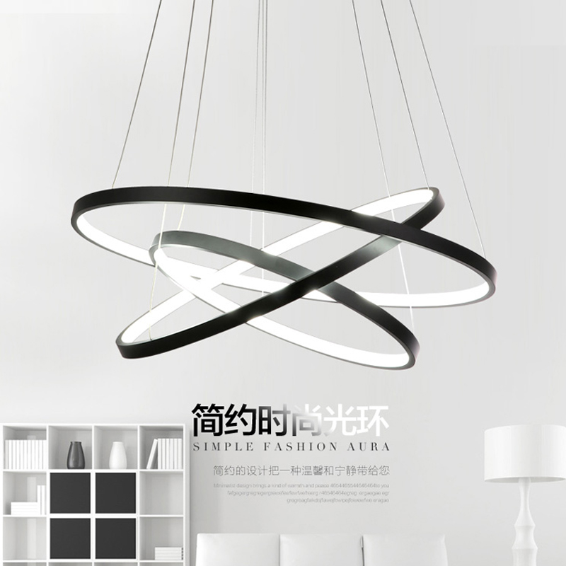 buy modern led pendant lights circle suspension luminaire dining room lamp 3. Black Bedroom Furniture Sets. Home Design Ideas