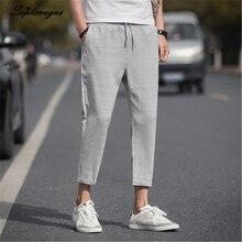 Septevagus длиной до щиколотки льняные клетчатые мужские брюки хип-хоп Jogger Брюки мужские тренировочные брюки уличная мужские брюки весенние новые