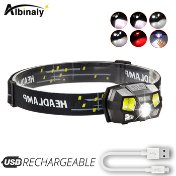Super bright  LED Headlamp Built-in inductive sensor USB rechargeable 6 lighting mode LED Headlight for running, fishing, etc. rechargeable led headlamp sensor switch headlight waterproof super bright 4 lighting modes fishing headlamp with usb cable