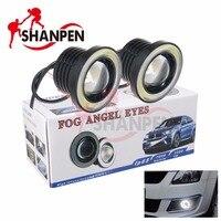 Автомобилей Противотуманные Фары angel eyes Свет 2.5 Дюймов 64 мм COB Лампы 12 В 10 Вт 3200lm IP65 С отверстием белый/синий/голубой Лед