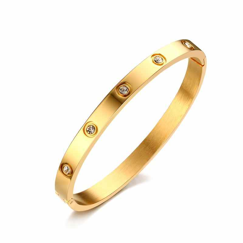 Vnox Fashion Women Crystal Wedding Bracelet 6mm Wide Rose Gold-color Bracelets & Bangles Bijoux