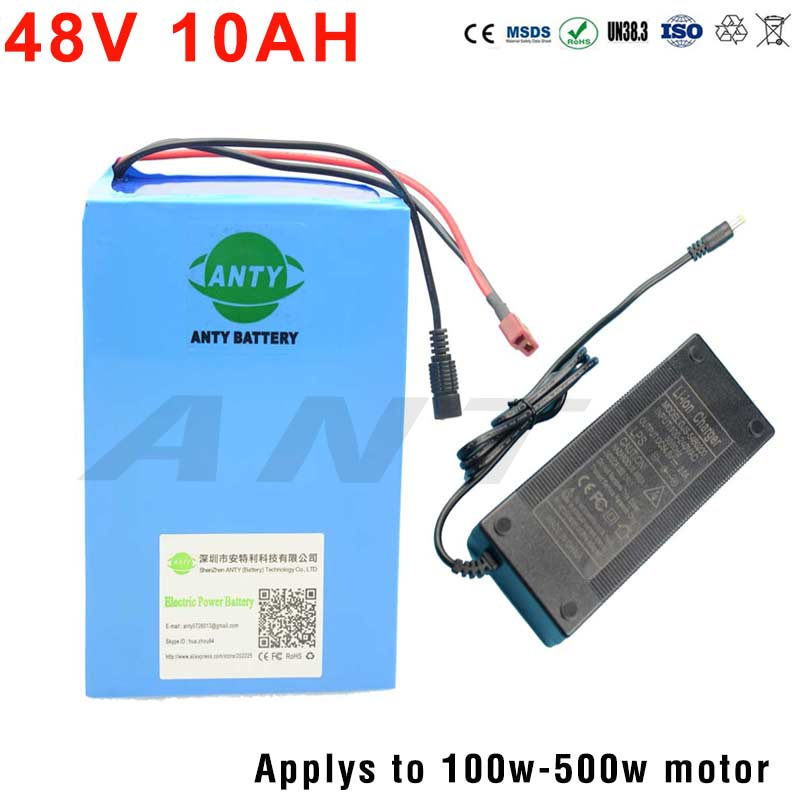 Freeshipping 48V Battery 10Ah Scooter Lithium Battery With 2A Charger Built-in 15A BMS Electric Bicycle Bike Battery 48V 18650 free customs taxes 48v 40ah portable lithium battery with 2000w bms chargrer e bike electric bicycle scooter 48v lithium battery
