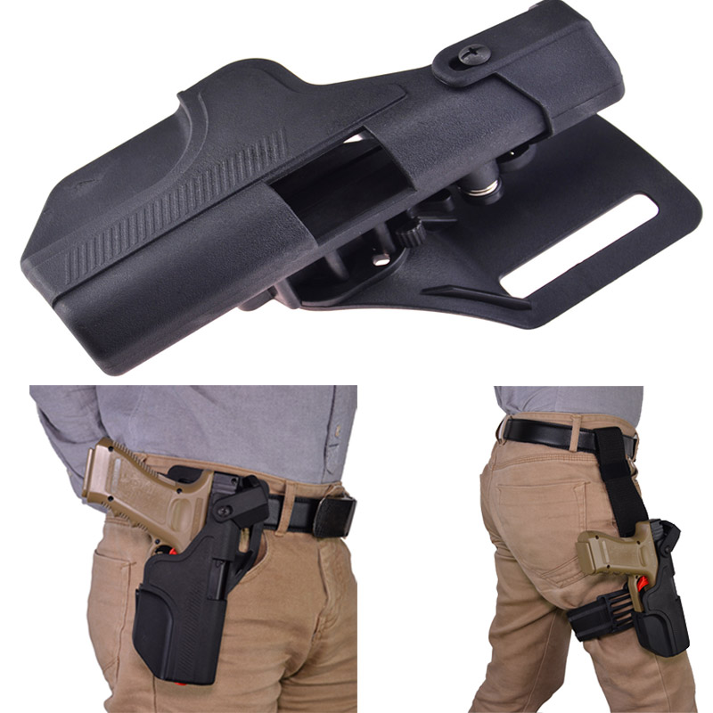 Tactical Quick Release Automatic Loading and Locking Waist/Thigh Holster for Glock adjustable quick release plastic tactical puttee thigh leg pistol holster pouch for usp45 black page 4