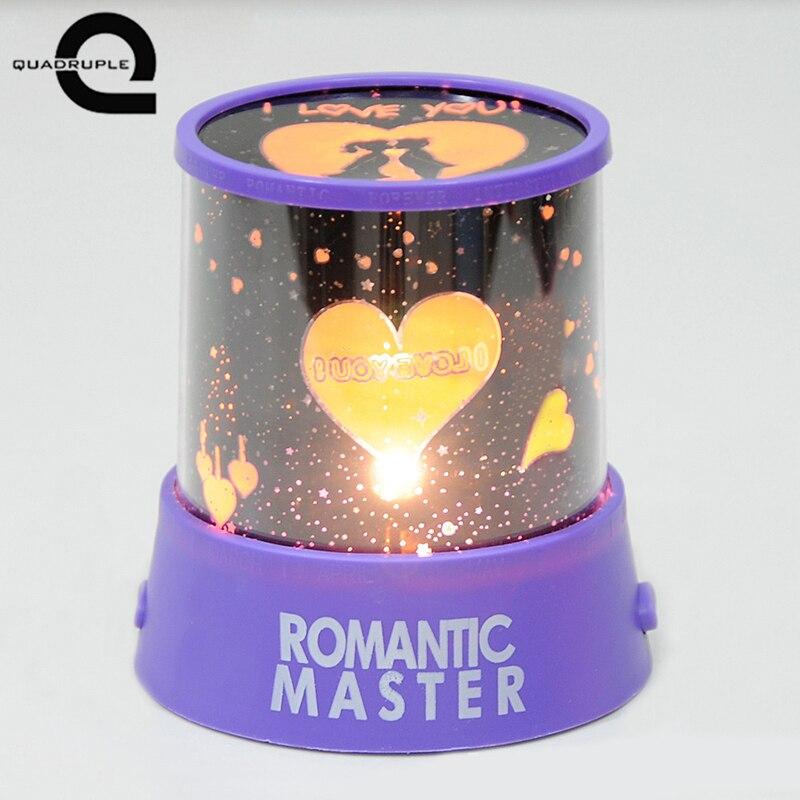 Четверка вращающийся Романтический Любители Night Light романтический USB лампа проецирования светодиодный ночник сделать сладкий атмосфера ...